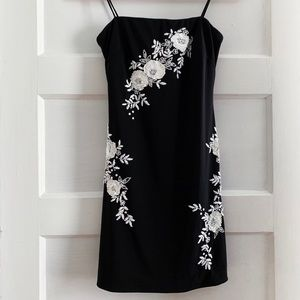 Black Dress White Embroidered Flowers
